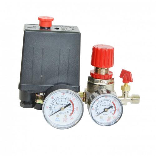Автоматика к компрессору 3 выход 220вт 2 манометра  PAtools АвтСб3/220+ (20A)