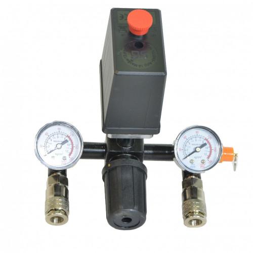 Автоматика к компрессору 220вт черная 2 манометра - PAtools 20E
