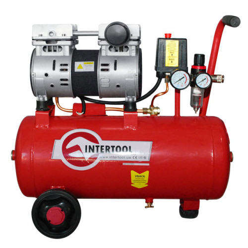 Компрессор 24 л, 1,5 HP, 1,1 кВт, 220 В, 8 атм, 145 л/мин, малошумный, безмасляный, 2 цилиндра Intertool PT-0022