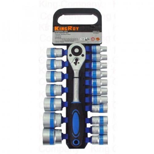 Набор инструмента 19 единиц, трещётка и головки на блистере Kingroy 8311