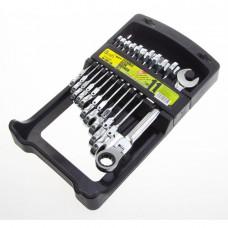 Alloid. Набор ключей комбинированных, трещоточных с карданом 11 предметов,  8-19 мм. НК-2081-11К