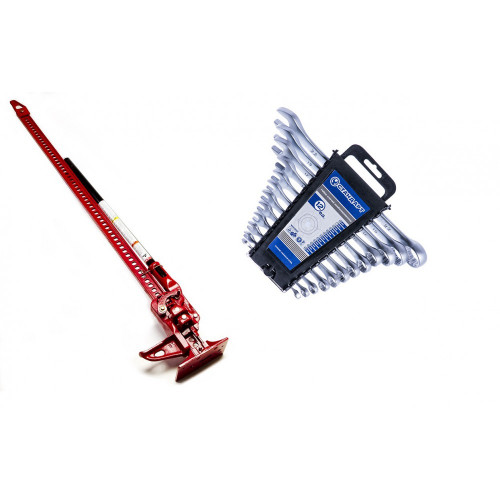 Домкрат реечный 3т 125-1330мм Torin TRA8605 + Набор ключей 12 единиц Стандарт NKK12ST